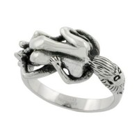 Surgical Steel Biker Ring Biker Love Making Couple 9/16 inch wide, size 9
