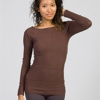 Square Neck-lined Long Sleeve Top - Brown from DNA at Lucky 21 Lucky 21