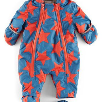 Infant Girl's Mini Boden Printed Snowsuit,
