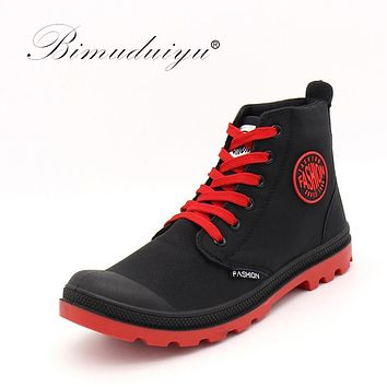 Spring Autumn Men's Ankle Boots Fashion Casual Shoe Waterproof Snow Boots Microfiber Leather High Cut Leisure