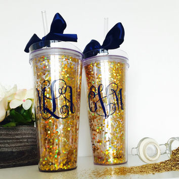 Personalized Glitter Tumbler, Glitter cup, Monogram Cup, Bridal Party Gift, Bachelorette Party Favor, Custom Gift, Gold Confetti Tumbler
