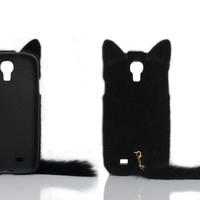 Cases Kingdom 3D Cute Fluffy Tail Cat TPU Case Cover Skin for Samsung Galaxy S4 S IV i9500 Black