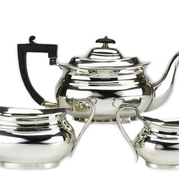 Silver Plated Tea Set by George Wish, Antique English Victorian 19th Century