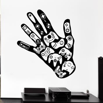 Gamer Hand Wall Decal Video Games Play Room Boys Vinyl Stickers Man Cave Decor Unique Gift (ig2531)