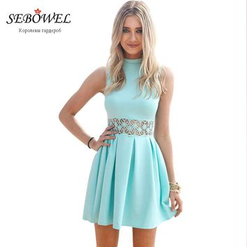 Sebowel 2018 Sexy Sleeveless Turtleneck Lace Stitching Mint Casual Women Dress Party Short Summer Dress Slim Vestidos De Festa