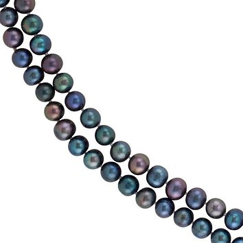 8-9mm, Black FW Cultured Pearl Rope Strand Necklace, 72 Inch