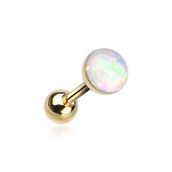 Golden Opal Sparkle Cartilage Tragus Earring 316L Surgical Steel