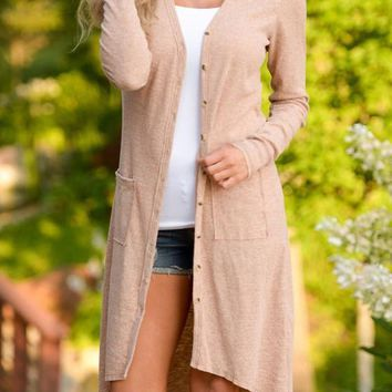 Apricot Patchwork Pockets Draped Single Breasted V-neck Long Sleeve Cardigan Sweater