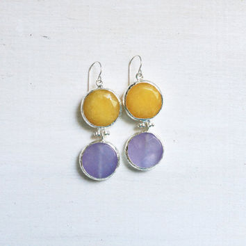 LARGE dangle long  DUAL light lilac purple and  sunshine yellow gemstone earringssilver gemstone earrings Israel jewelry