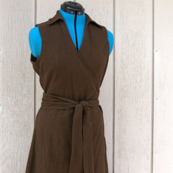 Up-cycled Brown Cotton Dress Ladies Size 8 free hemming