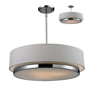 Z-Lite 186-22 Jade Three-Light Large Chrome Convertible Drum Pendant with White Linen Shade