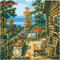 The Wild Cabin Oil Painting By Numbers Frameless DIY coloring by numbers On Canvas wall pictures for living room decoracion