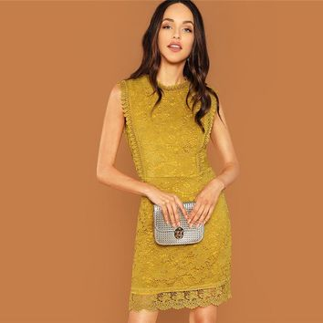 Ginger Contrast Lace Mock Neck Dress Casual Stand Collar Sleeveless Dresses Women Elegant OL Work Short Dress