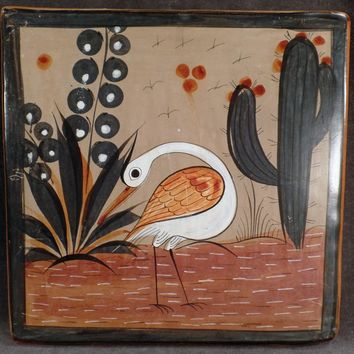 Vintage Mexican Pottery Trivet - White Bird Image - Muted Glaze