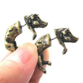 Fake Gauge Earrings: Wild Boar Pig Animal Shaped Plug Earrings in Brass