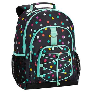 Gear-Up Black Confetti Dot Backpack