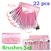Luxury 22-color Pink Nylon Makeup Brush Sets [9647072143]