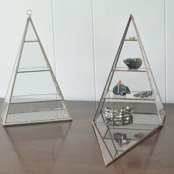 NEW Polaris Pyramid Display Box - glass pyramid - jewelry box - hinged - silver or copper - eco friendly