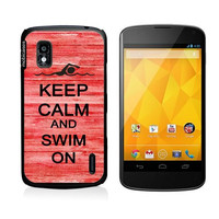 Keep Calm And Swim On Red-Wood Google Nexus 4 Case - For Nexus 4