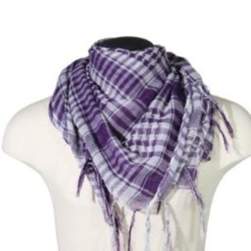 BDP Arab Shemagh Scarf - Dark Violet & White
