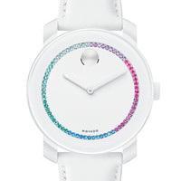 Movado Bold Ladies Swarovski Crystal and Leather Watch