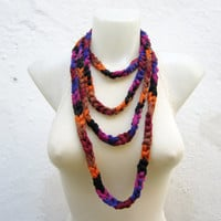 infinity scarf Finger Knitting Scarf -Purple Orange Black - Necklace scarf Winter Accessories-chain loop scarf