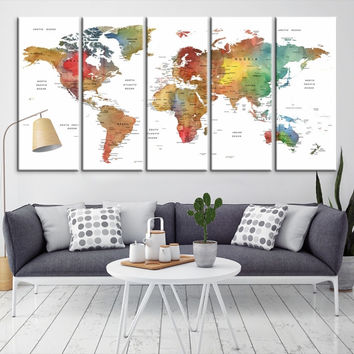12086 - Large Wall Art World Map Canvas Print- Custom World Map Push Pin Wall Art- Custom World Map Canvas Poster Print- Personalized Wall Art