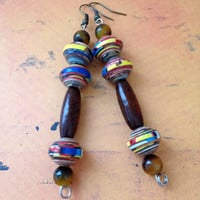 Handmade paper bead earrings, Fashion trend earrings, Bohemian inspired, Lightweight earrings.
