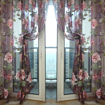 Stylish Floral Tulle Voile Sheer Curtain Cortinas Panel For Living Room Wall Door Window Home Decor Drapery Valance 1m x 2m