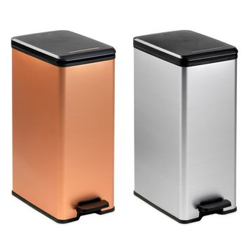 Curver 40-Liter Slim Metallic Trash Can