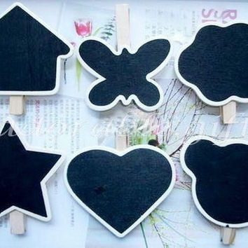 Mini 6 Shaped Blackboard/ 6pcs Wooden Pegs/ Chalkboard / Wood Stationery / Party Wedding / bag closure Scrapbooking Craft