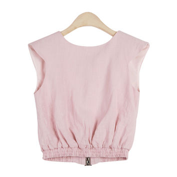 Linen Banded Top with Cut-Out Back