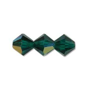 MC30203EMAB - 3mm Preciosa Bicone Crystal Beads,  Emerald Ab | Pkg 144