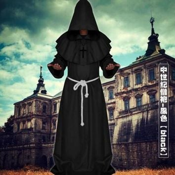 Medieval Robe Cloak Gown Priest Renaissance Monk Cowl Friar Clothing Medieval Halloween Cosplay Costume For Women Men