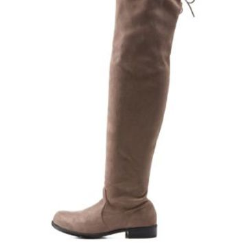 Taupe Bamboo Drawstring Over-the-Knee Boots