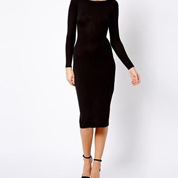 Simply Me Long Sleeve Extended Midi Dress