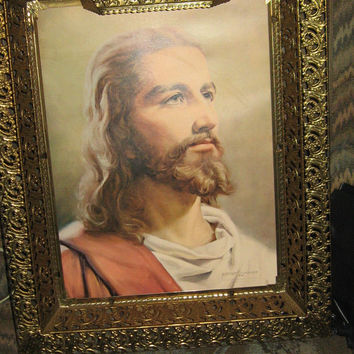 Vintage 1959 Jesus Picture Jesus Lighted 3D print Picture by PETER V .RANCHI Gold Ornate Frame Religious Christian Picture