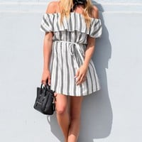 Stripe Off-the-Shoulder Mini Dress