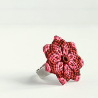 Flower Mandala Macrame Statement Ring boho hippie pink brown