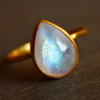 White Moonstone Ring  Teardrop  Stacking Ring June by OhKuol