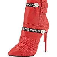 Quilted Leather Double-Zip Boot, Red