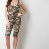 Camouflage Hoodie Zip Up Shorts Jumpsuit