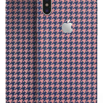 Navy and Coral Houndstooth Pattern - iPhone X Skin-Kit