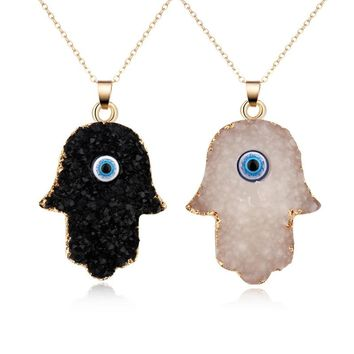 1PC Vintage Resin Evil Eye Pendants Necklaces For Women Chain Choker Gold Color Long Necklace Clavicel Collar Chains N733