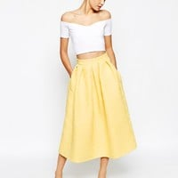 Closet Full Prom Midi Skater Skirt In Jacquard