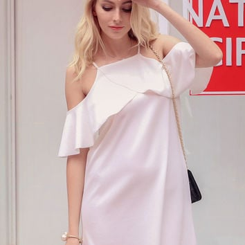 White Cold Shoulder Ruffle Cross Wrap Detail Cami Shift Dress