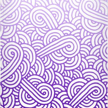 Gradient purple and white swirls doodles Beach Towel