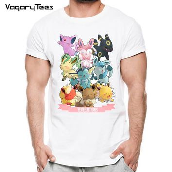 Pokemon Go Men T-shirt Fashion Stitch Tops Pokemon Eevee Evolution Printed t shirts Short Sleeve Hipster Comics tee