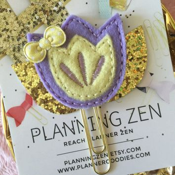 Lavender & Yellow Spring Flower with Gold Leaves Felt Planner Clip