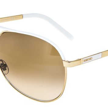 GUCCI Aviator GG1827S Gold Metal White Sunglasses Brown Gradient 1827